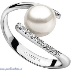 Comete Gioielli Anello con Perla in oro bianco e diamanti ANP 268 Misura 10