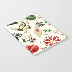 A beautiful Christmas pattern featuring classic Christmas icons in red, green, gold and cream.