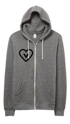 a38b015f9e339 Vegan Heart Unisex Eco Fleece Zip up Hoodie Sweatshirt