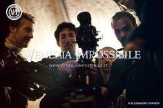 Da sinistra, William Carrer [regista e direttore della fotografia], Stefano Ben [operatore steadicam], Gabrio Toniolo [fonico] e Filippo Leoni [aiuto-regista].  Location: forte Carpenedo, Mestre.