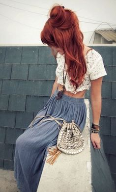 13 long curly copper hair for a hippie look - Styleoholic