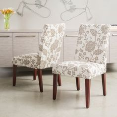 @Overstock - Christopher Knight Home Tan Floral Print Dining Chairs (Set of 2) - These comfortable floral print dining chairs add style and grace to any dining room. Soft padded seats with linen upholstery increase comfort. Each set of two dining chairs blends well with any d�cor allowing them to be used in any room of the house.  http://www.overstock.com/Home-Garden/Christopher-Knight-Home-Tan-Floral-Print-Dining-Chairs-Set-of-2/6304837/product.html?CID=214117 $175.99