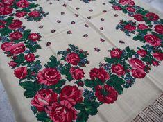 SALE 50% off Soviet Floral Shawl Vintage Romania russian