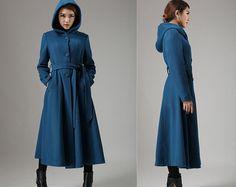 Blue wool coat with tie belt waist long winter coat by xiaolizi, $239.00
