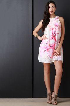 Watercolor Floral Print Ruffle Neckline Shift Dress