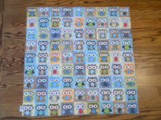 Blue Hoot Hoot QUILT by PETUNIAS  SALE by PETUNIAS on Etsy