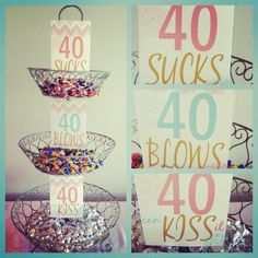40th Birthday Candy bar... I LOVE THIS!!!!!! Doing it.