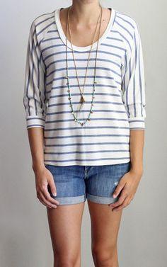 Lanston Raglan Stripe Pullover Front