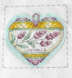 Lavender heart, cross stitch