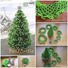 This Pin was discovered by Laurie Panariello. Discover (and save!) your own Pins. Beaded Christmas Decorations, Christmas Crafts To Sell, Crochet Christmas Trees, Miniature Christmas Trees, Beaded Ornaments, Handmade Ornaments, Holiday Crafts, Beaded Crafts, Handmade Beaded Jewelry