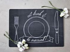 Chalkboard Placemats FREE printable: chalkboard-themed placemats for a rustic or natural wedding. Diy Wedding Decorations, Paper Decorations, Tie The Knot Wedding, Oh My Fiesta, Wedding Planning Tips, Wedding Ideas, Wedding Spot, Wedding Table, Wedding Ceremony