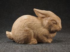 Hand Made Wood Carved Sculpture of Rabbit by ArtistinWood on Etsy, $55.00