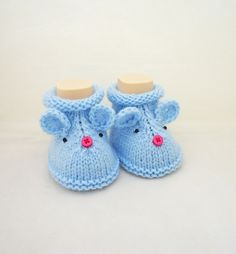 Mouse booties, Cute Baby Booties, Grey Booties, Hand Knitt Mouse Booties, Mouse  £7.50