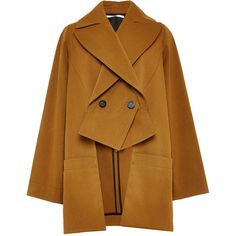 Rosetta Getty Compact Cotton Cady Slashed Trench ($1,900) ❤ liked on Polyvore featuring outerwear, coats, jackets, brown coat, cotton trench coat, trench coat, cotton coat and double breasted trench coat