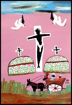 Clementine Hunter Cotton Crucifixion / 1970 Oil paint on Masonite 27 x 19 in.