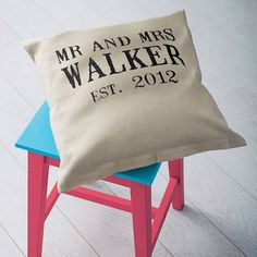 I must have this!  Personalised 'mr and mrs' wedding linen cushion by tillyanna | notonthehighstreet.com
