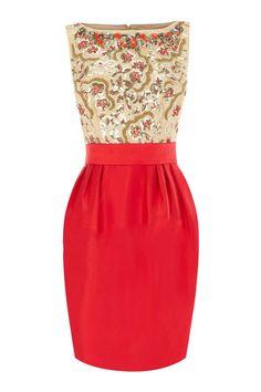 #dress  #idreammart Idreammart Exotic Ladies' Red & Coffee Polyester Sequins Beaded Top Pencil Dress - iDreamMart.com