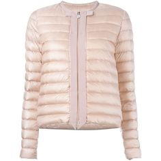 Moncler Tassel Detail Padded Jacket (3.315 RON) ❤ liked on Polyvore featuring outerwear, jackets, moncler, pink jacket, light pink jacket, pink straight jacket and straight jacket