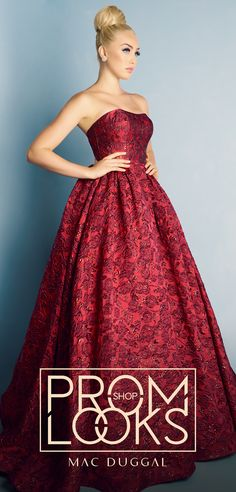 Strapless, embossed metallic brocade ball gown for prom or formal occasions. This gown is stunning in either Red or Blue. School Dance Dresses, Prom Girl Dresses, Prom Dress Stores, Prom Outfits, Girls Formal Dresses, Sweet 16 Dresses, Beautiful Prom Dresses, Pretty Dresses, Homecoming Dresses
