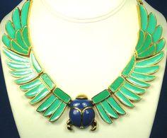 Hattie Carnegie Egyptian Revival Enamel Scarab Necklace: