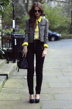 SMART CASUAL[spring]: chanel tweed jacket; black trousers; yellow shirt
