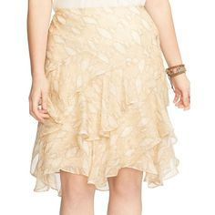 Lauren Ralph Lauren Plus Python-Print Ruffled Skirt ($62) ❤ liked on Polyvore featuring plus size women's fashion, plus size clothing, plus size skirts, beige, plus size, python skirt, plus size ruffle skirt, snake print skirt, flounce skirt and frilly skirt