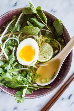 Quick Vegetarian Pho with Zucchini Noodles by healthynibbblesandbits: An easy pho recipe that anyone can make. This dish is healthy, gluten-free and paleo. #Pho #Veggie #Easy #Healthy