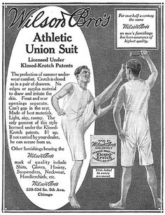 Men's underwear, athletic union suit, 1915