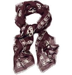 alexander mcqeen scarf | Alexander McQueen Men Skull Print Scarf in Burgundy | Men's ...