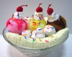 PDF Crochet Food Pattern Banana Split Ice Cream by melbangel