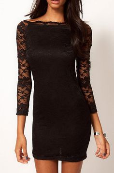 Black Boat Neck Long Sleeve Embroidery Lace Dress