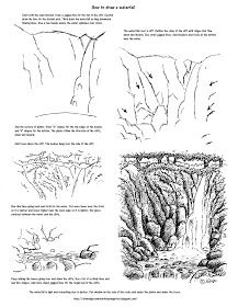Easy Drawing How to Draw Worksheets for The Young Artist: How to Draw A Waterfall Printable Worksheet. Drawing Skills, Drawing Lessons, Drawing Techniques, Drawing Sketches, Landscape Drawings, Cool Landscapes, Waterfall Drawing, Nature Drawing, How To Draw Nature