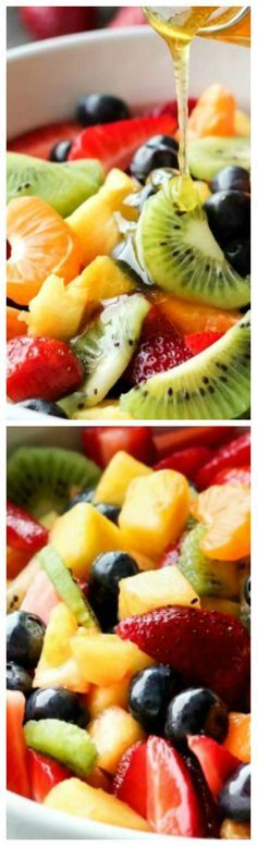 Fruit Salad with Honey Orange Glaze ~ This summer fruit salad is as colorful as a rainbow, and is tossed in a reduced honey orange glaze for the perfect amount of added sweetness and flavor... Great for barbecues, potlucks, and picnics!