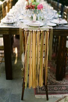 Ribbon on Chairs for Bride & Groom...shades of white, pale pale aqua, touch of pink, touch of lace...