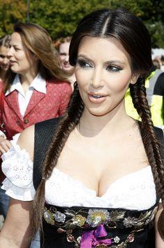 Kim Kardashian Photos Photos - Kim Kardashian (Dirndl/Dress: Lola Paltinger, Lollipop & Alpenrock) visits the Oktoberfest 2010 at Theresienwiese on September 22, 2010 in Munich, Germany. - Kim Kardashian Visits Munich