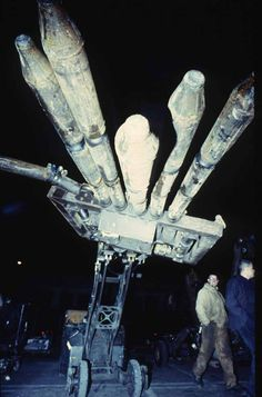 """""""The Hand-O'-God is a giant spring loaded hand cocked by an air-cylinder with 8 tons of pressure"""" by Survival Research Laboratories"""