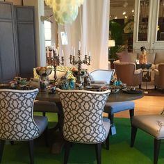 These lovely patterned dining chairs are the perfect way to add visual interest to your space.  Would you consider using these pieces around your table? #hpmkt #hpmkt2014 #shopgf | Houston TX | Gallery Furniture |