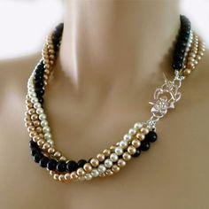Black Pearl Necklace, Costume Wedding Jewelry, Bold Champagne Ivory Multi Strand Multi Color Wedding Jewelry Brides from PearlJewelryNecklace on Etsy. Bead Jewellery, Beaded Jewelry, Jewelry Necklaces, Beaded Necklace, Jewelery, Pearl Necklaces, Shell Jewelry, Etsy Jewelry, Black Pearl Jewelry