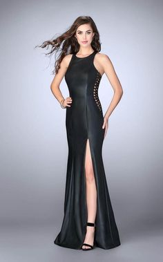 Leather Detailed Prom Dress