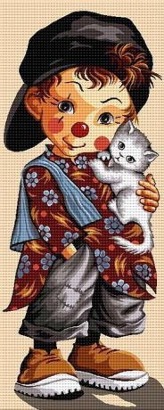 Băiat clown    . Cross Stitching, Cross Stitch Embroidery, Embroidery Patterns, Cross Stitch Patterns, Baby Patchwork Quilt, Baby Quilts, Send In The Clowns, Vintage Birthday Cards, Art Deco Illustration