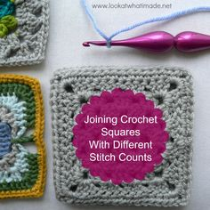 Part 4 of my Joining Crochet Squares series looks at joining crochet squares with different stitch counts using a solid join. Joining Crochet Squares, Crochet Blocks, Granny Square Crochet Pattern, Crochet Stitches Patterns, Crochet Chart, Crochet Motif, Diy Crochet, Crochet Ideas, Crochet Granny