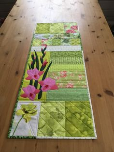 Beautiful Gladiola Spring Quilted Table Runner