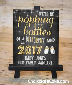 NEW YEAR BABY Pregnancy Announcement Chalkboard Sign by ChalkolateCake, January Due Date Pregnancy Reveal Sign