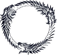The ouroboros or uroboros, (from the Greek οὐροβόρος ὄφις tail-devouring snake) is an ancient symbol depicting a serpent or dragon eating its own tail.  The ouroboros often symbolizes self-reflexivity or cyclicality, especially in the sense of something constantly re-creating itself, the eternal return, and other things such as the phoenix which operate in cycles that begin anew as soon as they end.