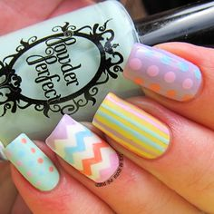 Easter Nail art with Stick Me Nails  Chevron stickers - review