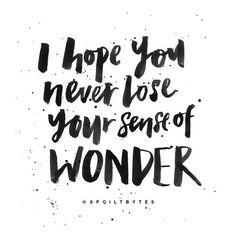 I hope you never lose your sense of WONDER.