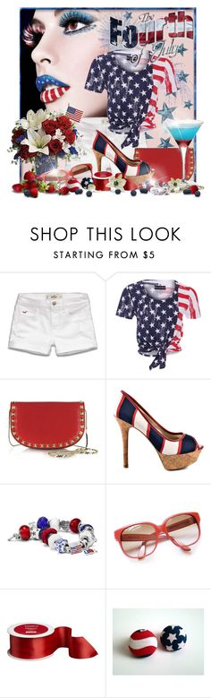 """""""Independence Day"""" by doozer ❤ liked on Polyvore featuring Tt Collection, Hollister Co., Religion Clothing, Valentino, GUESS and Emmanuelle Khanh"""