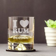 Engraved Dimple Base Tumbler - I Heart Rum Rum, Engraved Gifts, Dimples, Shot Glass, Tumbler, Base, Heart, Tableware, Etched Gifts