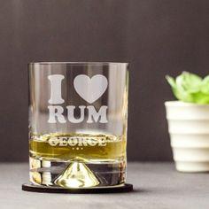 Engraved Dimple Base Tumbler - I Heart Rum