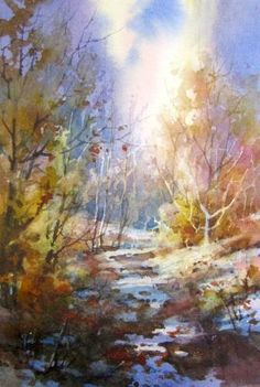 Trail of Light , Watercolor painting by Roland Lee - Watercolor Paintings by Roland Lee